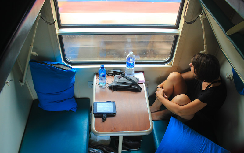 TAZARA train from Tanzania to Zambia or Zambia to Tanzania. Second class train compartment with six berths.