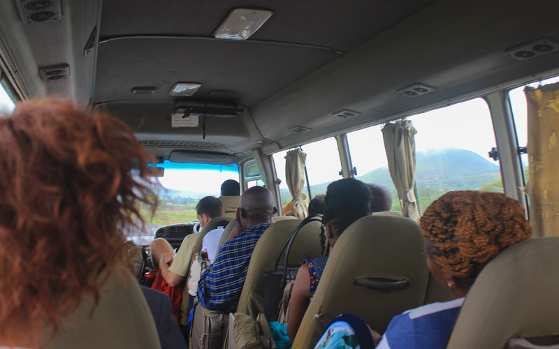 Tourist shuttle bus from Arusha to Nairobi.