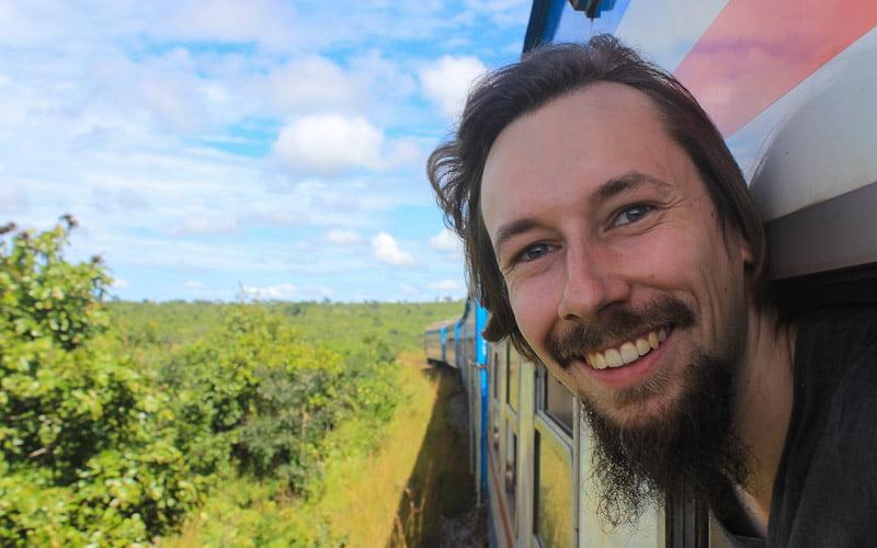 Train window selfie from the TAZARA train from Kapiri Mposhi to Dar es Salaam.