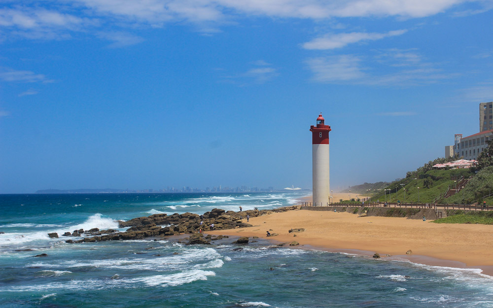 A lighhouse on the beach of Durban North, South Africa.