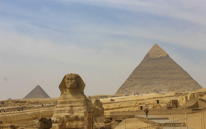 Visiting Cairo in 2018. The Sphinx and the pyramids of Giza in Cairo.