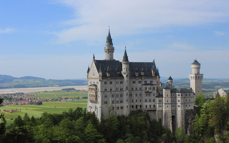 Neuschwanstein Castle from Queen Mary's Bridge. RTW itinerary.