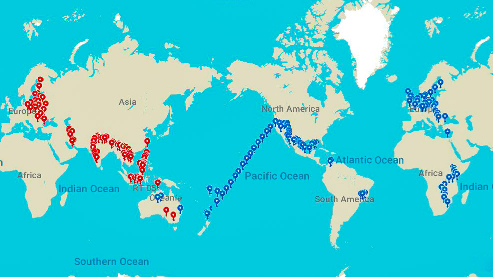 Around the world in 777 day. All the stops of my RTW trip..