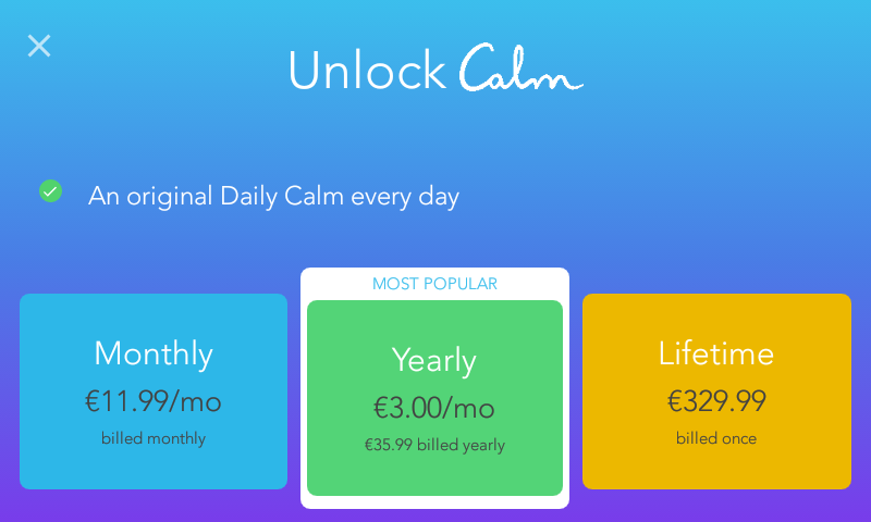 Calm meditation app pricing in 2019