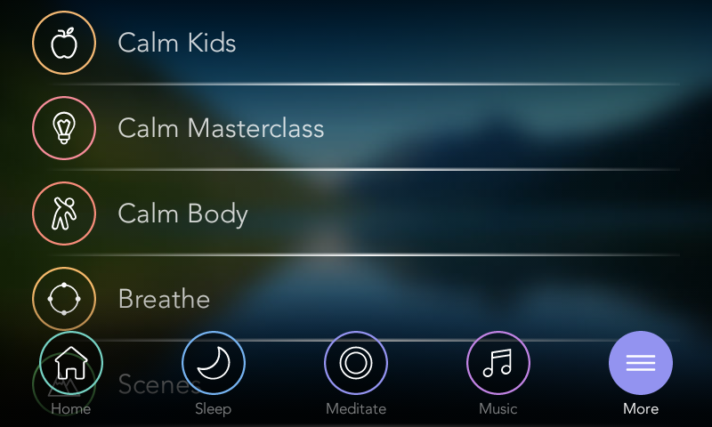 Calm Kids, Calm Masterclass, Calm Body and other features of Calm app.