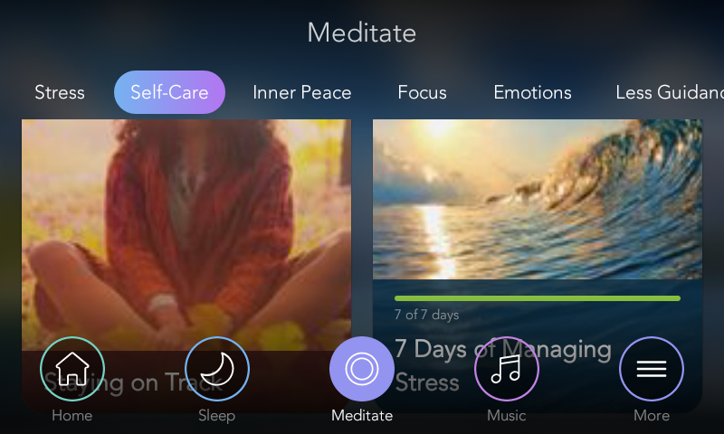 Calm meditation app navigation systenm. Calm mindfulness app experiences.